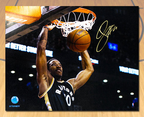 DeMar DeRozan Toronto Raptors Autographed Black Gold Dunk Close-Up 16x20 Photo