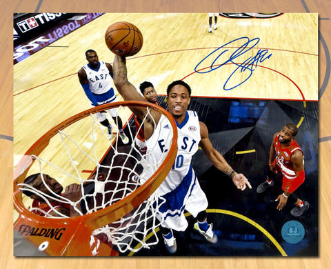 DeMar DeRozan 2016 Toronto NBA All Star Game Autographed Net Cam 11x14 Photo
