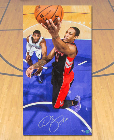 Demar DeRozan Toronto Raptors Autographed Purple Jersey 14x28 Art Canvas #/10