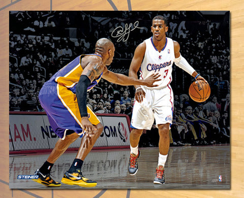 Chris Paul LA Clippers Autographed Action vs Kobe 16x20 Photo: Stiener COA