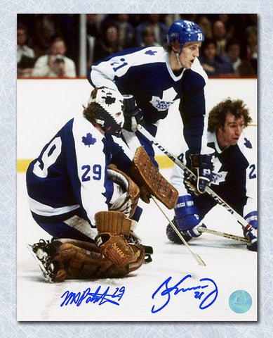 Borje Salming & Mike Palmateer Toronto Maple Leafs Dual Signed Action 8x10 Photo