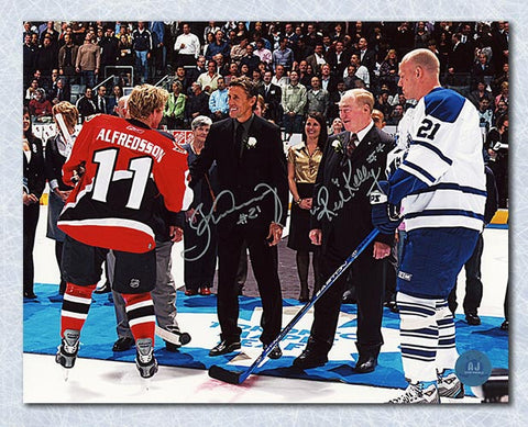 Borje Salming Maple Leafs & Red Kelly Dual Signed Retirement Night 8x10 Photo