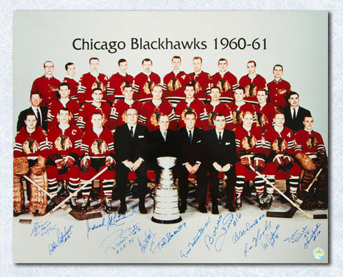 1961 Chicago Blackhawks Team Signed Stanley Cup 16x20 Photo: 11 Autographs