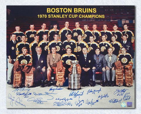 1970 Boston Bruins Team Signed Stanley Cup 16x20 Photo - 16 Autos Bobby Orr