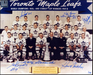 1948 Toronto Maple Leafs Stanley Cup Team Signed 8x10 Photo: 7 Autographs #/48