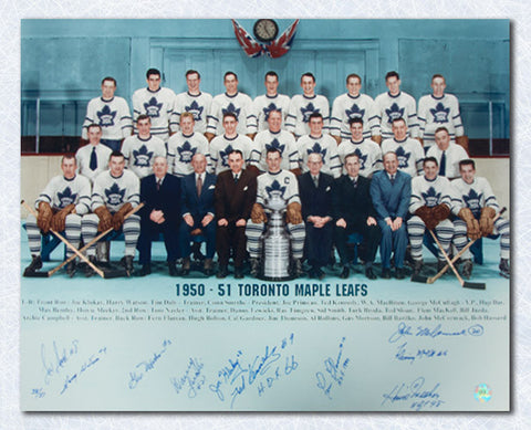 1951 Toronto Maple Leafs Stanley Cup Team Signed 16x20 Photo: 10 Autographs #/51