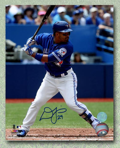 Devon Travis Toronto Blue Jays Autographed Batting Blue Jersey 11x14 Photo
