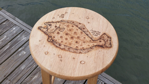 Wood Burned Stool with Fish