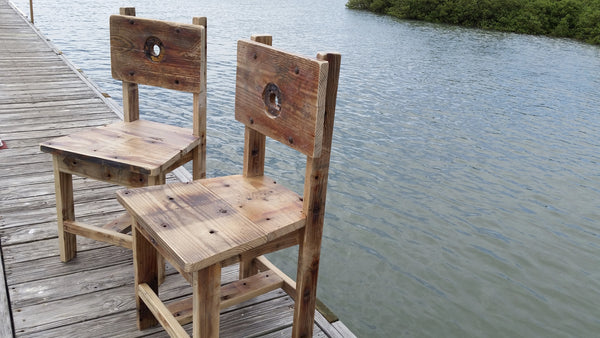 Stylish and Sturdy Chairs handcrafted from reclaimed shrimp boat wood