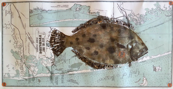 "Flounder on 1939 Gulf Oil ""Fish Guide"" map featuring Port Isabel and South Padre Island"