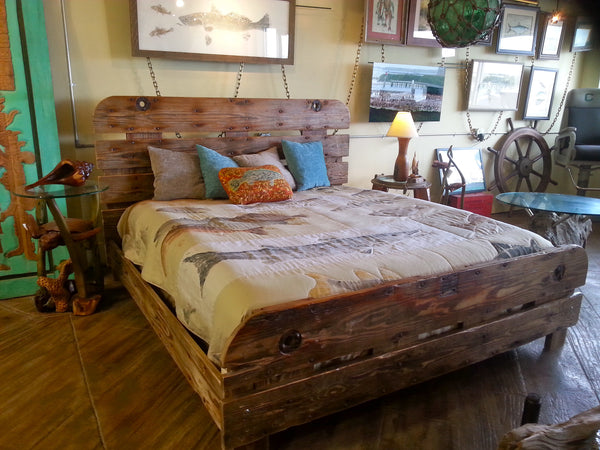 King bed handcrafted from reclaimed shrimp boat wood