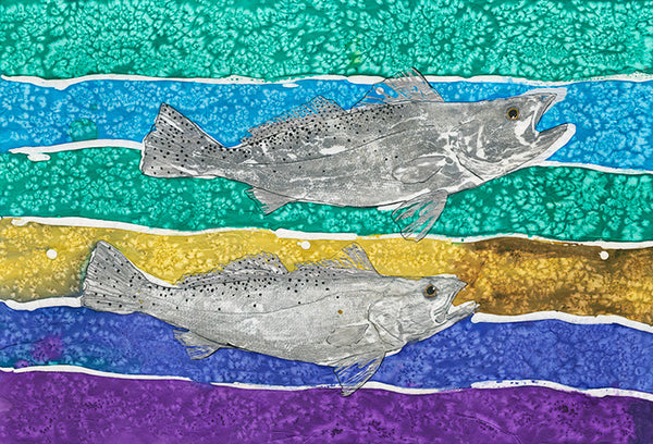 Speckled Trout on a Colorful rainbow colored water Background