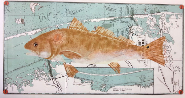 "Redfish on 1939 Gulf Oil ""Fish Guide"" map featuring Port Isabel and South Padre Island"