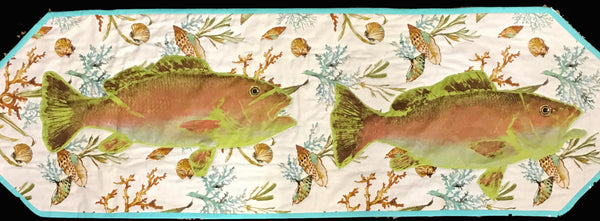 Turquoise Coral Table Runner w/ Mangrove Fish Prints