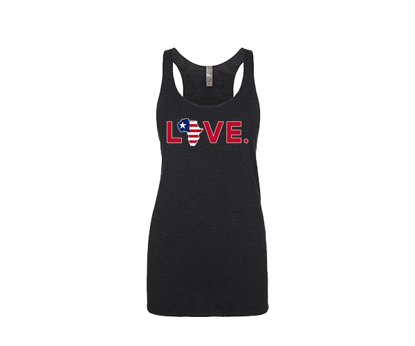 2019 Women's Red, White, and Blue Flag Black Tank