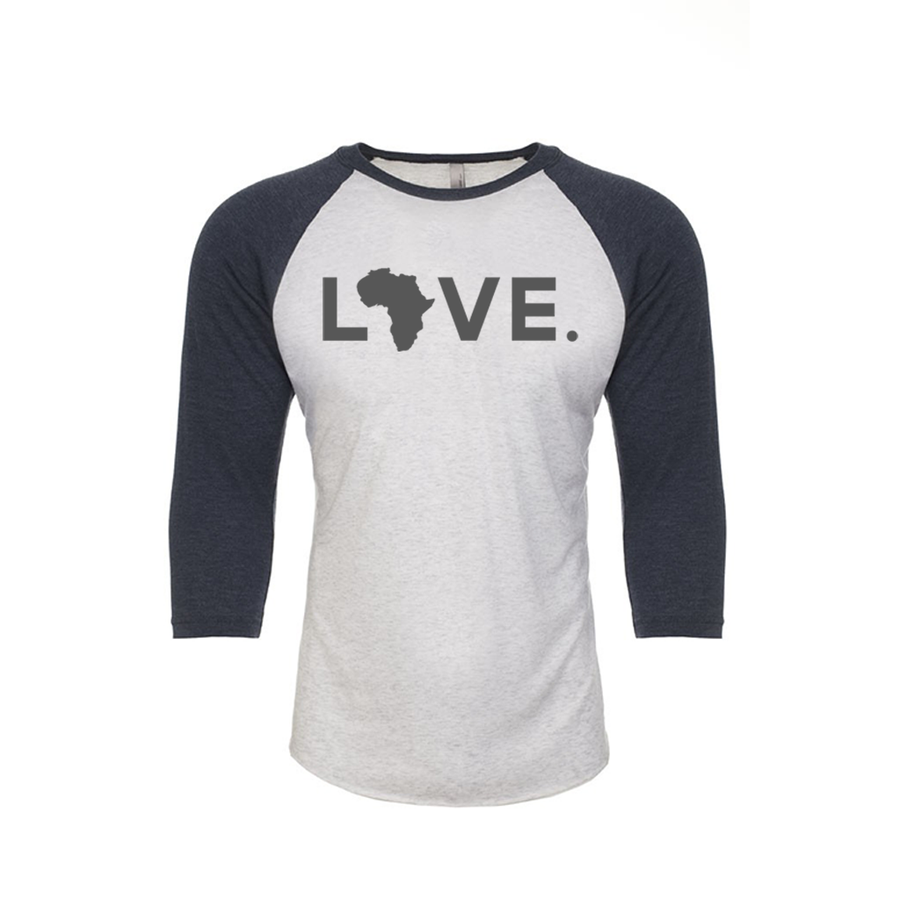 Adult Baseball 3/4 Sleeve Heather White & Indigo