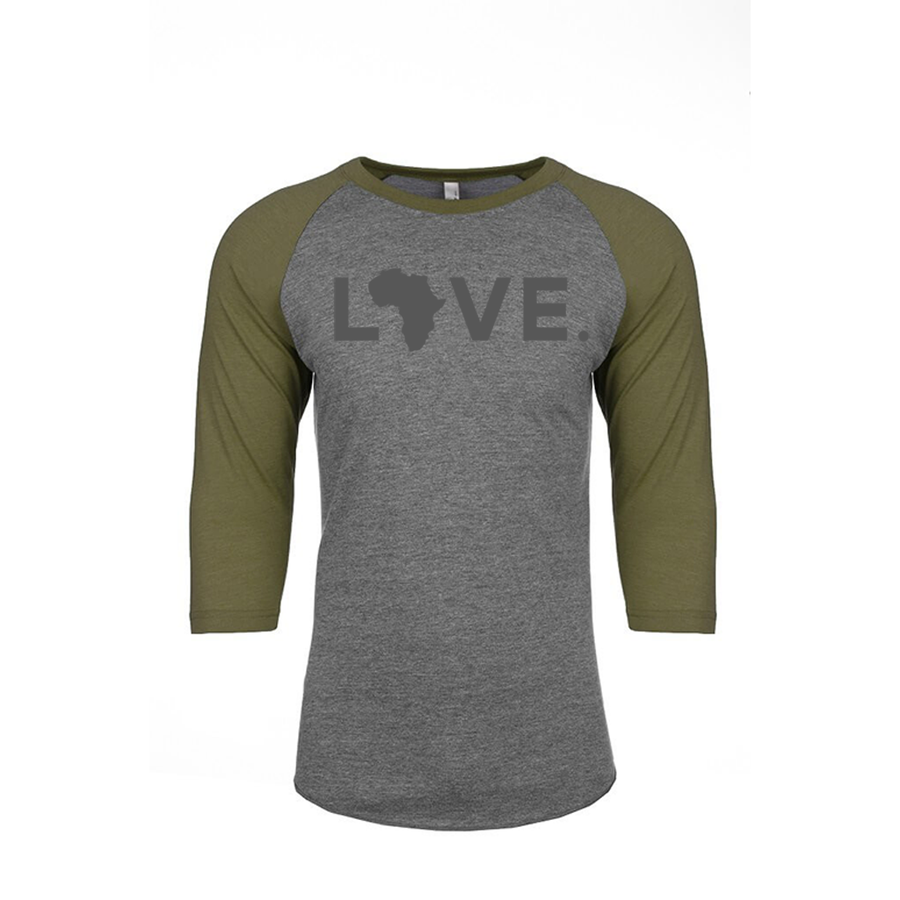 Adult Baseball 3/4 Sleeve Heather Gray & Military Green