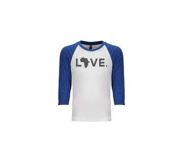 Youth Baseball Tee - White & Royal Blue