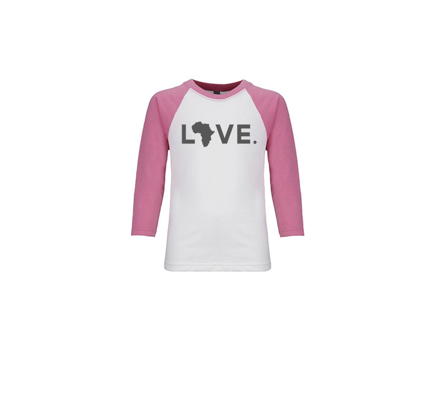Youth Baseball Tee - White & Pink