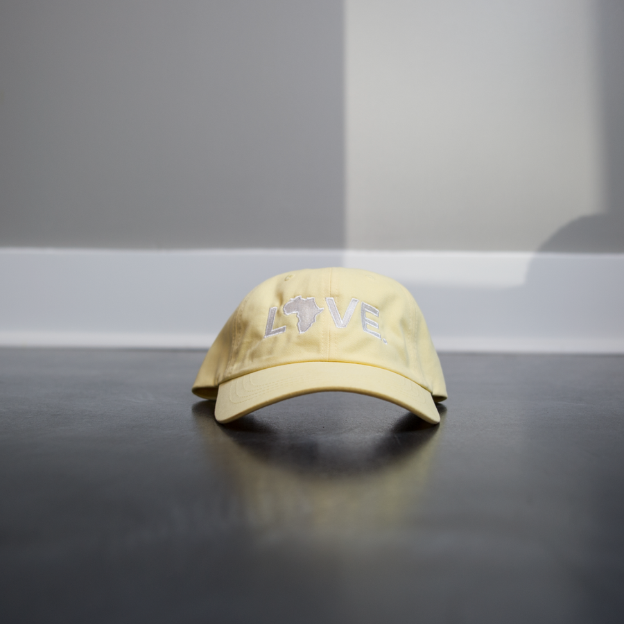 Hat - LOVE. - Relaxed Cotton Twill- Pale Yellow