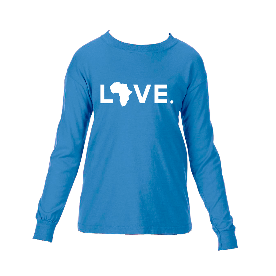 2020 Youth Long Sleeve Comfort Colors- Flo Blue & White