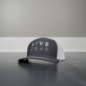 Hat - Trucker Charcoal & White LIVE2540