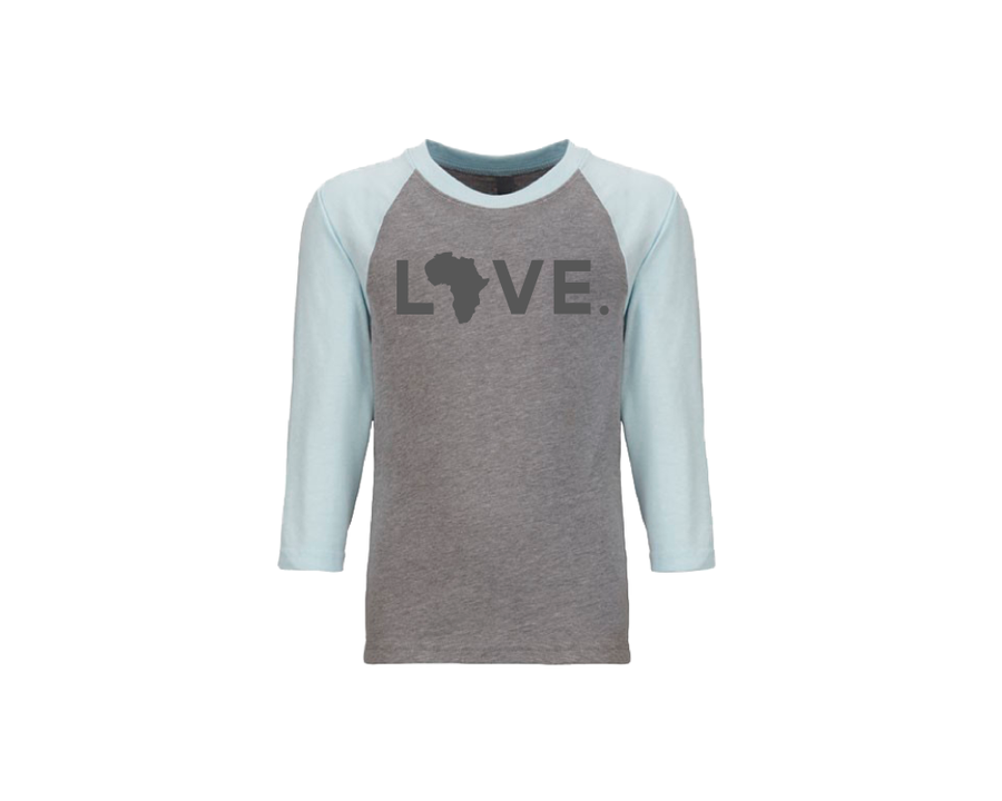 Youth Baseball Tee - Gray & Ice Blue