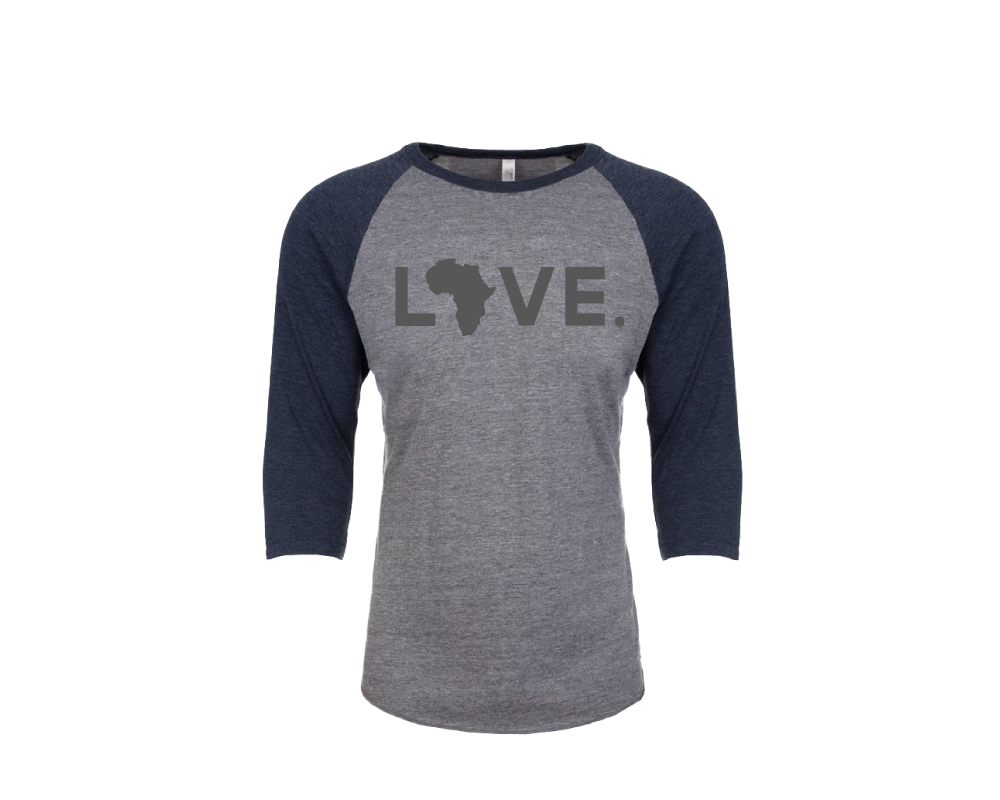 Baseball Adult 3/4 Sleeve Heather Gray and Navy