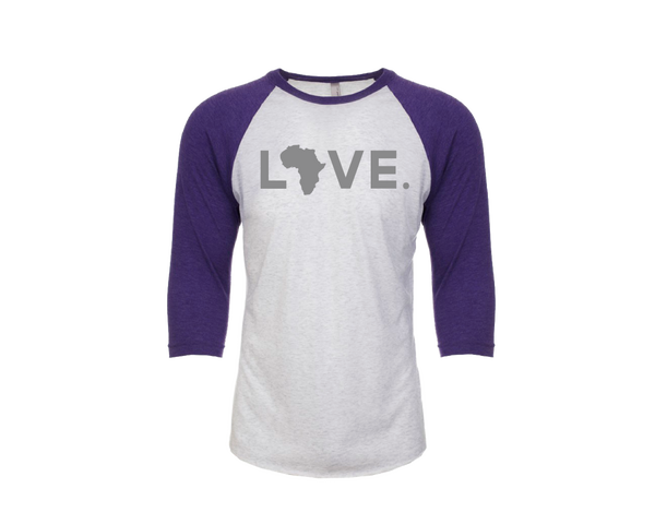 Baseball Adult 3/4 Sleeve Heathered White & Purple Rush