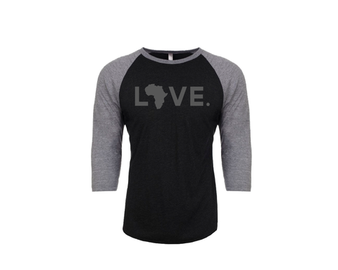 Baseball Adult 3/4 Sleeve Black & Gray
