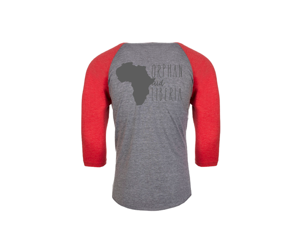 Baseball Adult 3/4 Sleeve Heather Gray and Red
