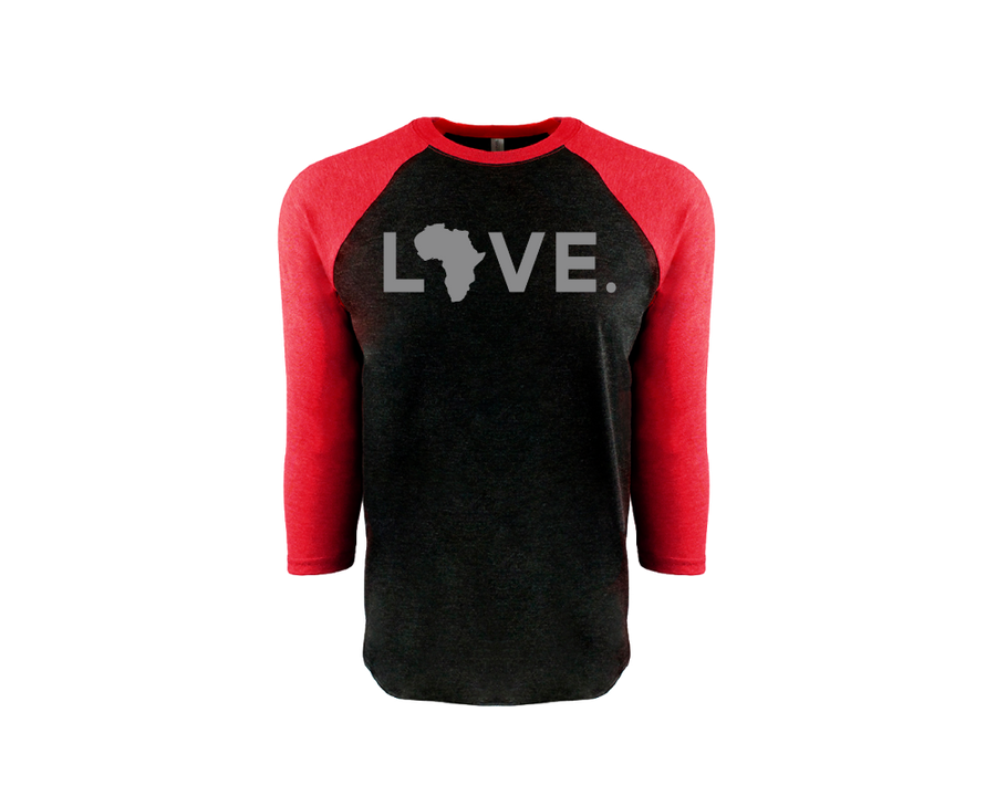 Adult Baseball 3/4 Sleeve Black & Red