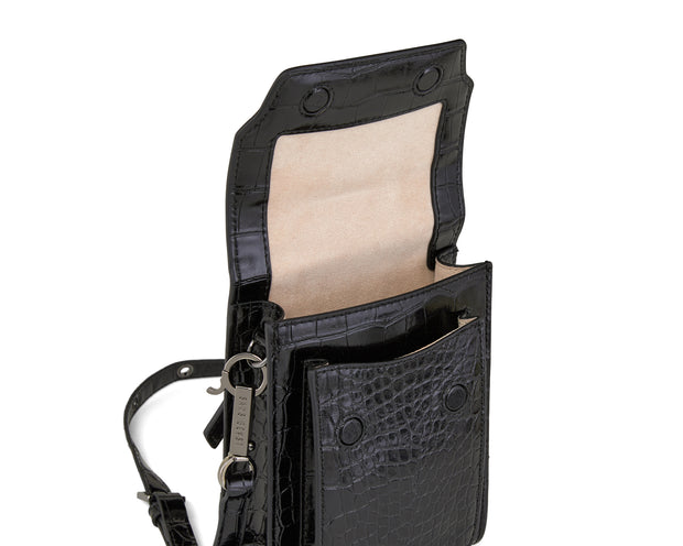 Bandolier Hip Bag | Noir Alligator - Gunmetal