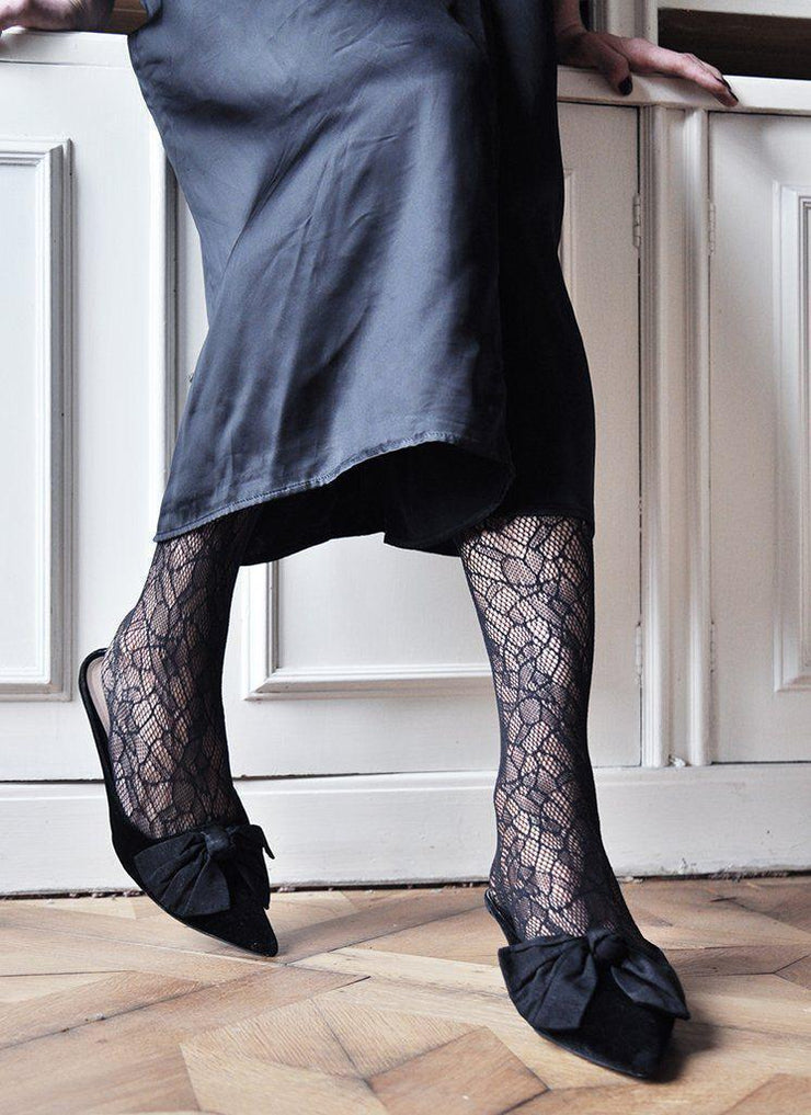 Swedish Stockings hosiery Edith Lace Tights - Black - alltrueist - vegan