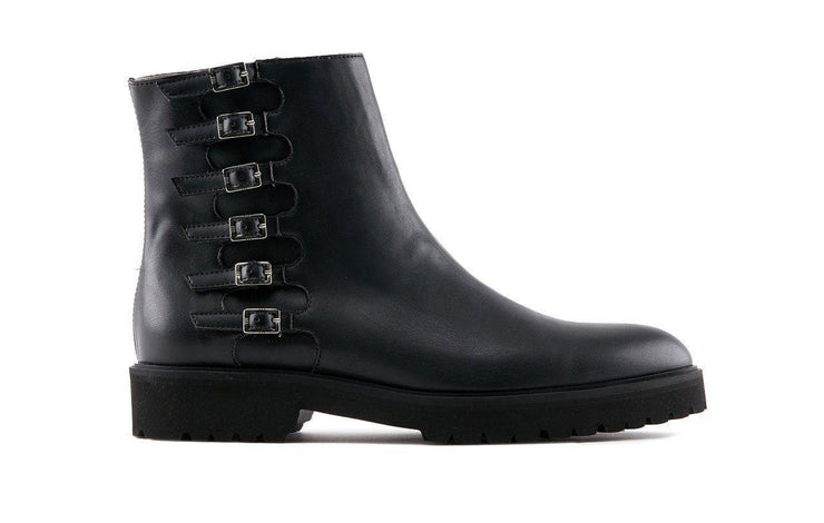 Sovana | Black Buckled Ankle Boots-Women's Shoes-Marzeri-allTRUEist