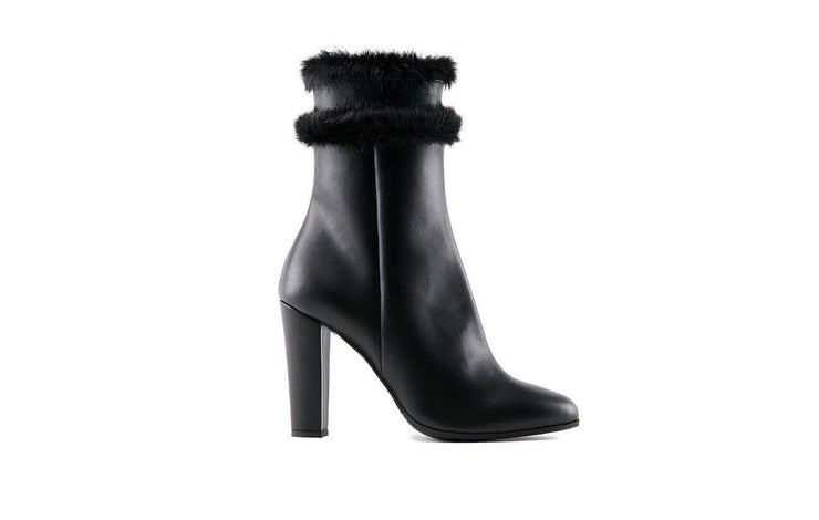 Varenna | Faux Fur Black Ankle Boots-Women's Shoes-Marzeri-allTRUEist