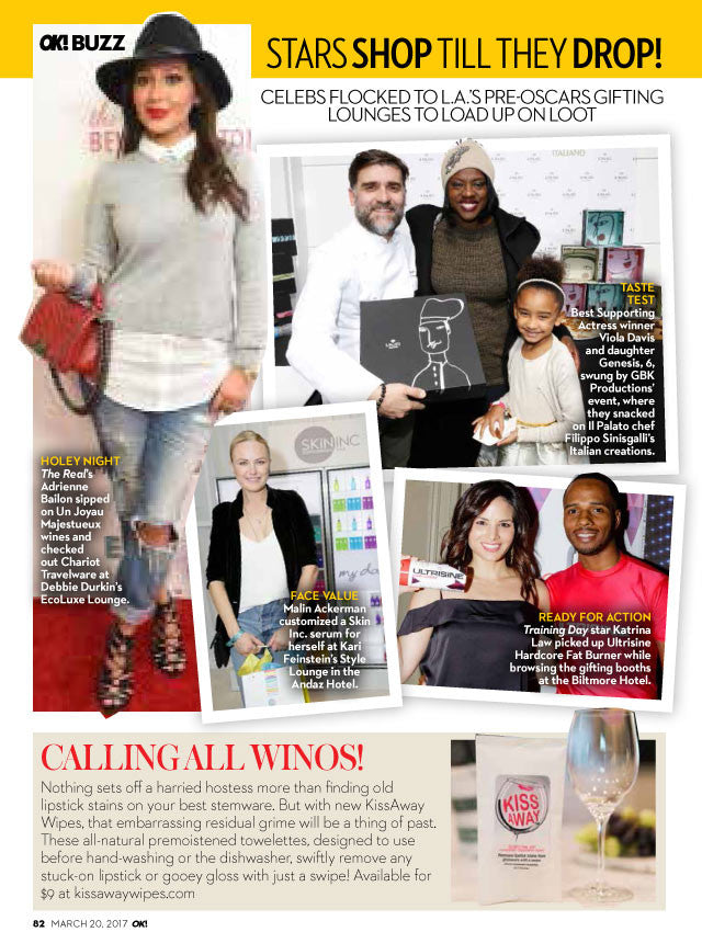 KissAway Wipes in OK! Magazine