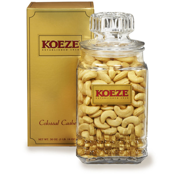 Koeze's Colossal Cashews Large Glass Jar (30 oz. Canister) #32955