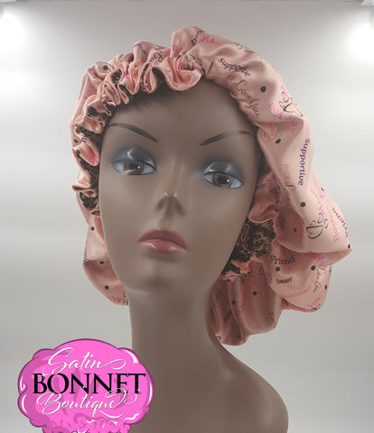 Love Mom Satin Bonnet