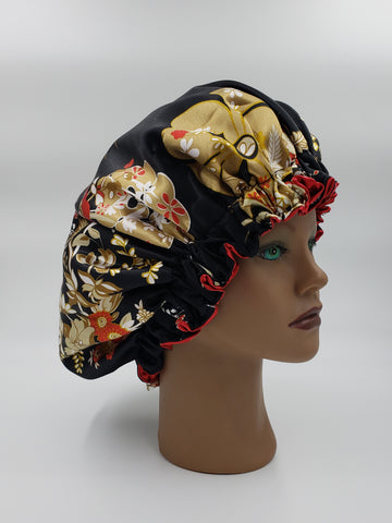 Black and Floral Satin Bonnet