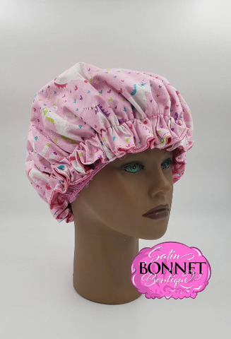 Unicorns Satin Bonnet