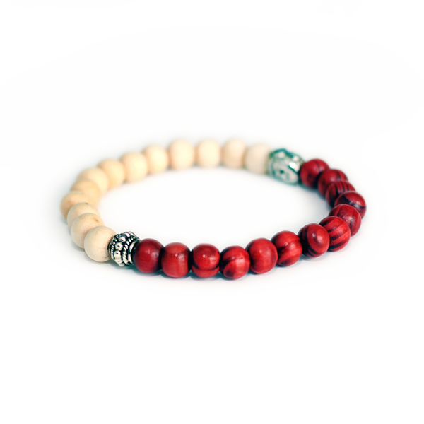 Red/White Lotus & Cedar Wood Aroma Bracelet