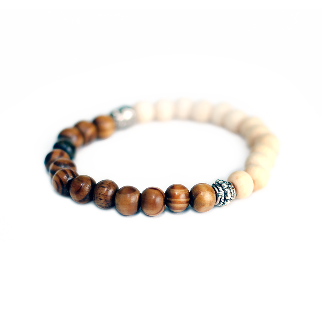 Brown/White Lotus & Cedar Wood Aroma Bracelet
