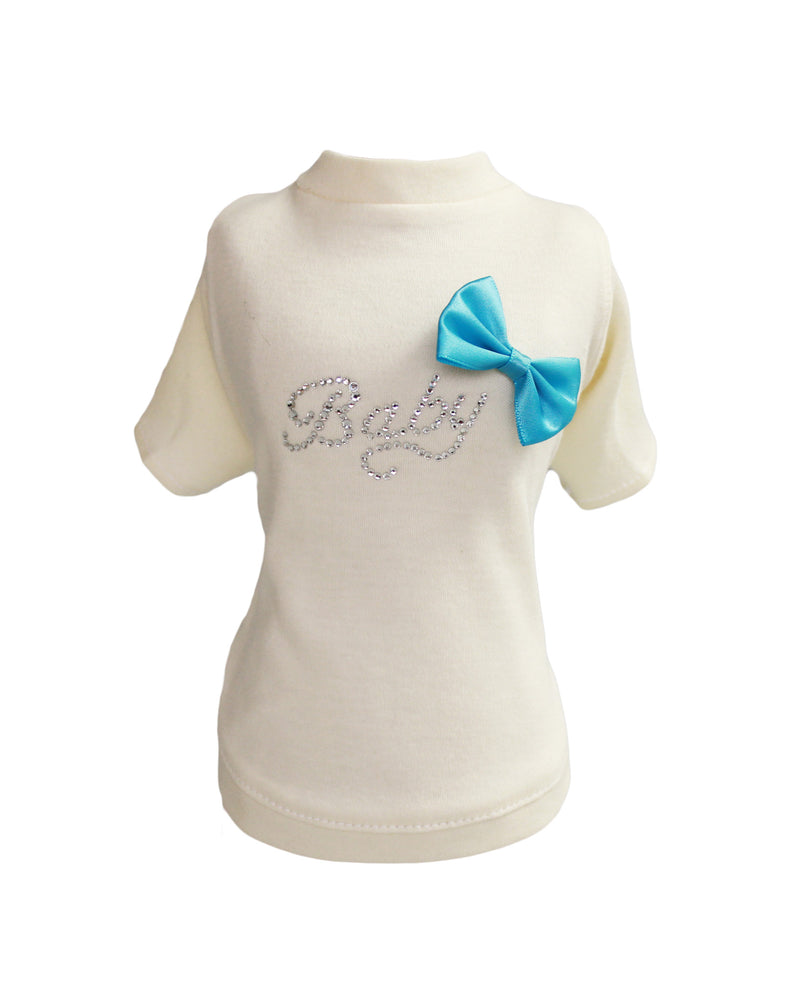 baby, bow, tee, baby bow, blue, pink, blue bow, pink bow, dog, doggie, hello, kitty, cat, tshirt, shirt, sleeved tee, dog tee, cat tee, handcrafted, made in usa, usa, pet products, pet, luxury, luxury dog clothing, luxury pet clothing, luxury dog tee,