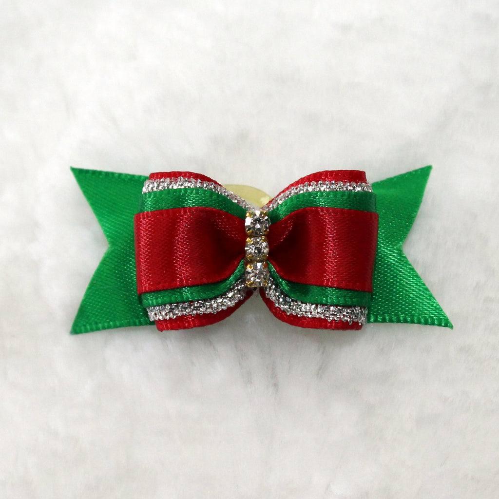 Christmas, bow, hair bow, hair tie, dog, dog hair bow, doggie, hello, crystals, rhinestones, sparkle, sparkly, hair, bow, tie, pet, holiday, seasonal,