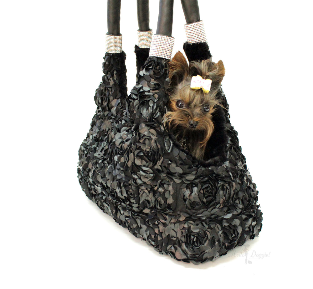 duchess, luxury, carrier, tote, pet tote, pet, pet carrier, luxury carrier, travel, purse, bag, dog, doggie, hello, handcrafted, usa, crystals, headrest, comfort, luxurious, fabulous, sparkle, soft, cuddle, tether, dreamy, comfy, black