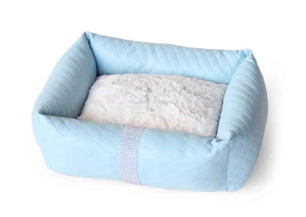 liquid, ice, bed, dog, doggie, puppy, hello, pet, pet products, pet bed, dog bed, luxury, luxury dog bed, luxurious, crystals, rhinestones, sparkle, sparkly, comfy, comfort, cuddly, faux, leather, liquid ice, pillow, plush, soft, fuchsia, pink, blue, black, white, stylish,