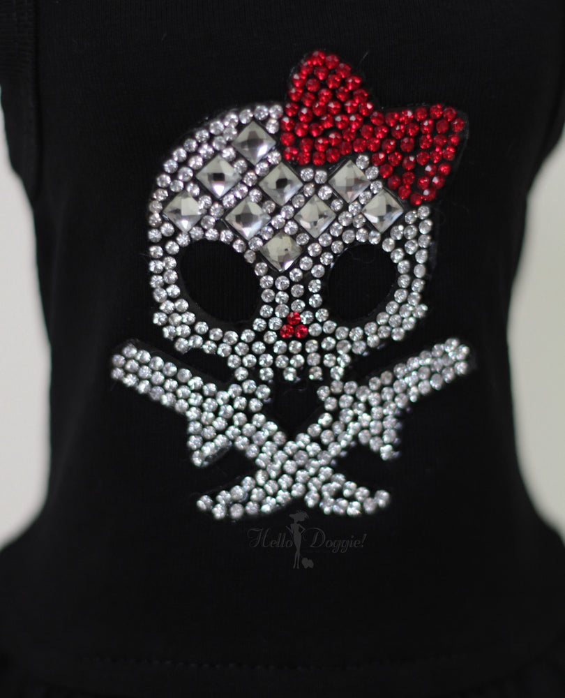 molly, skull, dress, dog dress, dog, doggie, hello, kitty, cat, pet dress, pet, dress, pet products, luxury, luxury pet products, luxury dog dress, crystals, rhinestones, sparkly, sparkle, black, red, silver, black dress,