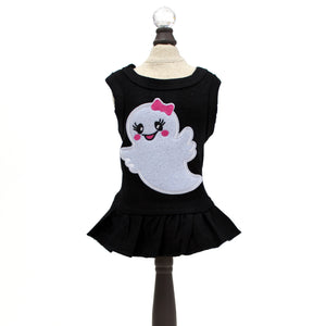 ms, boo, dress, halloween, holiday, ghost, hello, doggie, dog dress, pet dress, cotton, black, orange, cute, apparel, clothing, spooky