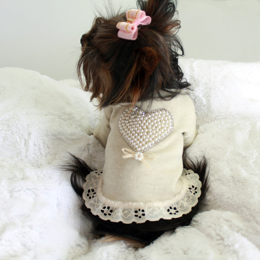 pearl, heart, dress, dog, dog dress, luxury dog dress, luxury, lace, ruffles, soft, cotton, sweet, sleeved, pet, dog, doggie, hello, kitty, cat, products, handcrafted, made in usa, usa,